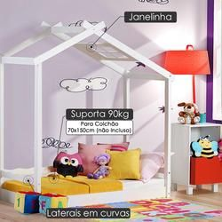 Mini Cama Infantil Montessoriano Com Telhado V Casinha Em Madeira Maciça Laca Branco Casatema