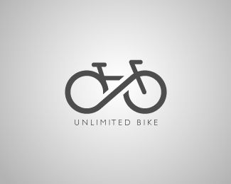 Unlimited Bike Logo design - Bike Logo with Unlimited Symbol between two wheel. Price $499.00