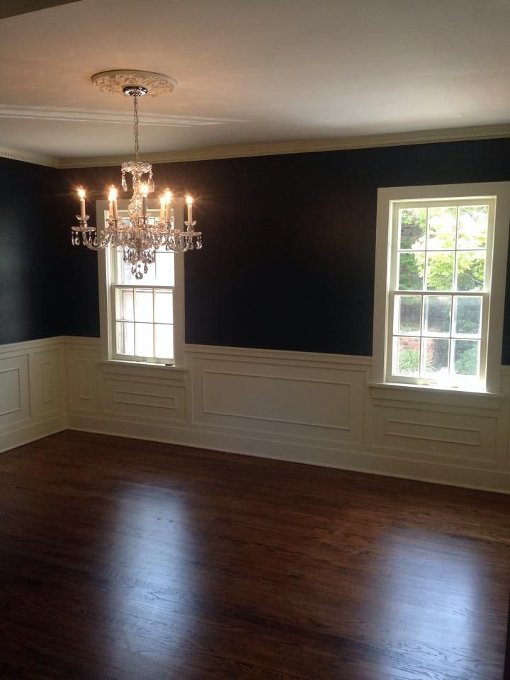 Dining room - Wall color is Wrought Iron by Martha Stewart. Vintage #chandelier and #chestnut floor stain.