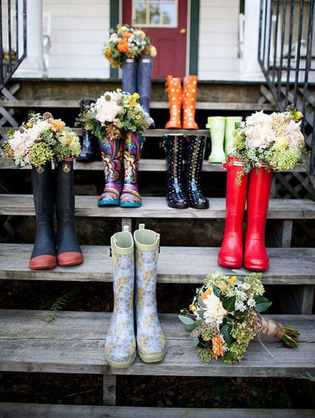Wellies can make for fun, rain-friendly wedding party swag.