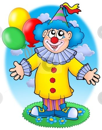 Smiling clown with balloons stock photo