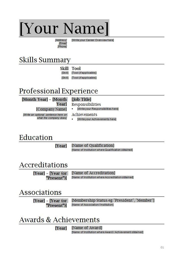 resume format very simple