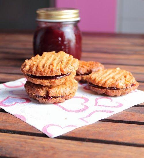 "Gluten Free Peanut Butter & Raspberry Jam Sandwich Cookies ~ via this blog, ""Baking Yummies""."