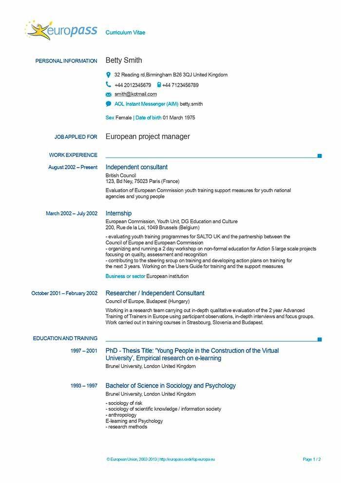 Awesome Europass Cv Template English Word Ideas Di 2020
