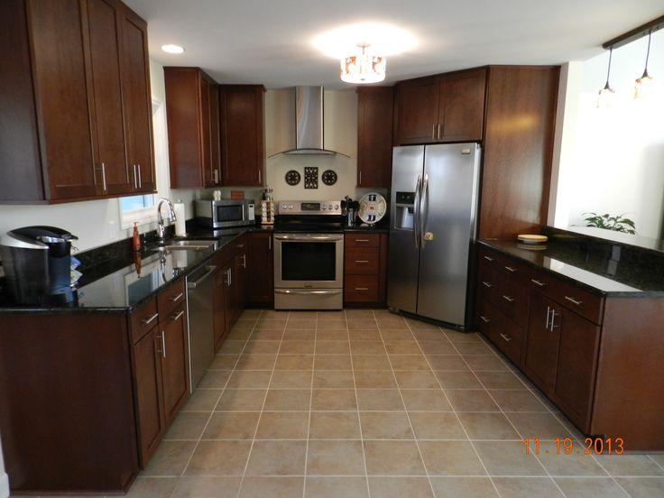 Waypoint kitchen cabinets by carpet one cherry chocolate glaze