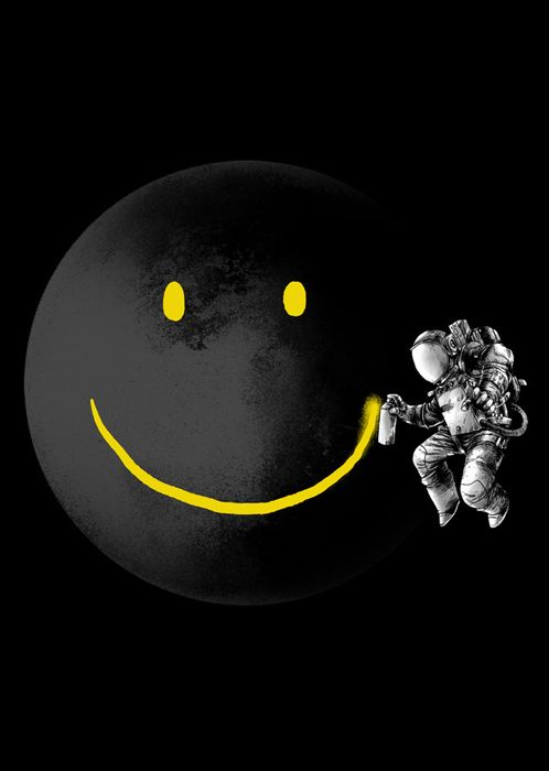 Redonne à La Terre son sourire. / Give back  its smile to the Earth. / Smiley Face in Space.