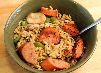 Johnsonville Smoked Sausage with Rice Pilaf- made this last night for dinner- easy to make and yummy!
