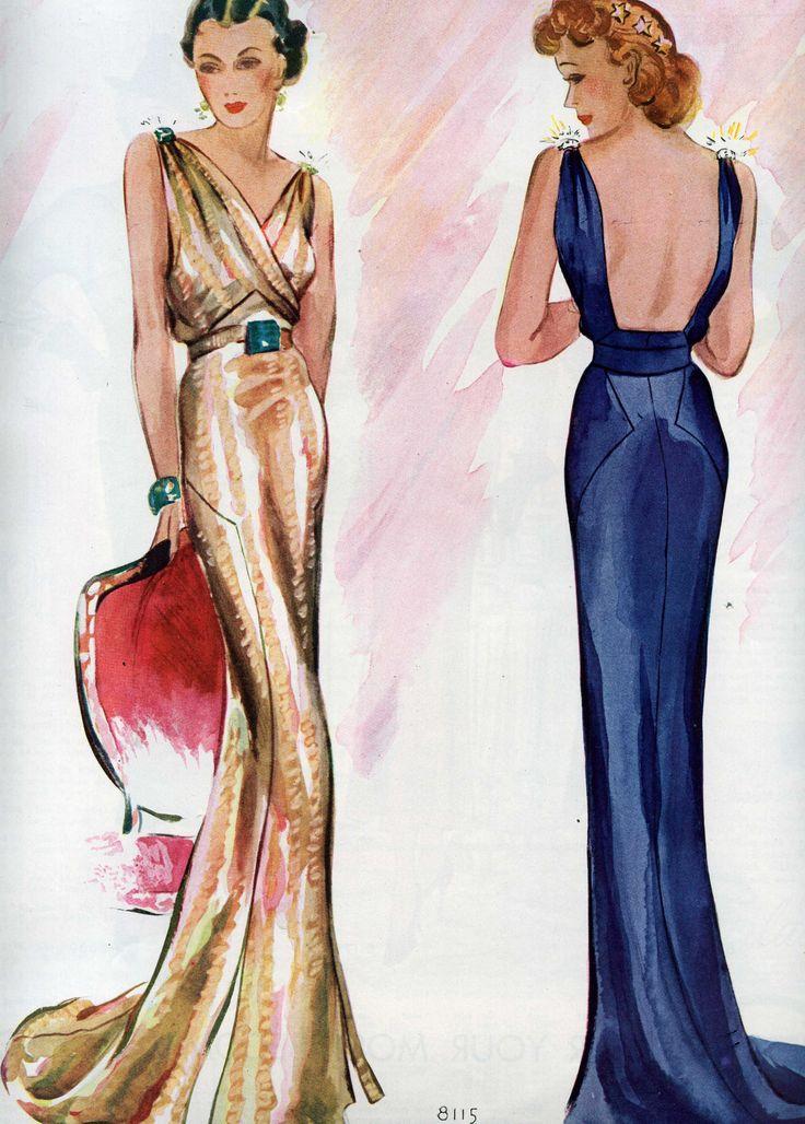 Vestido dorado y vestido azul, 1935