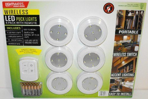 Lightmates LED Wireless Puck Lights with Remote & Batteries - 6 Pack by Light Mates, http://www.amazon.com/dp/B007SRJME8/ref=cm_sw_r_pi_dp_Piwasb0ASHEFF