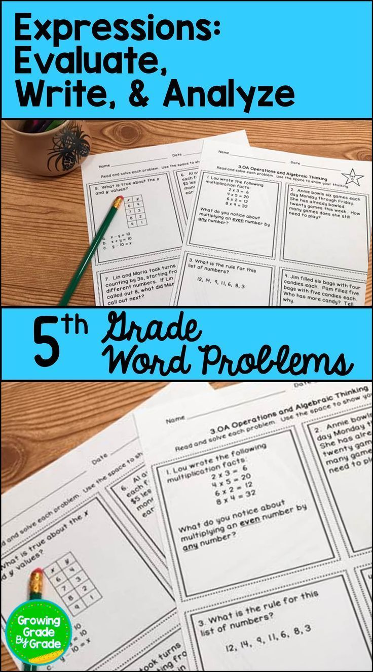 Evaluating Algebraic Expressions Word Problems | 4th - 5th Grade ...