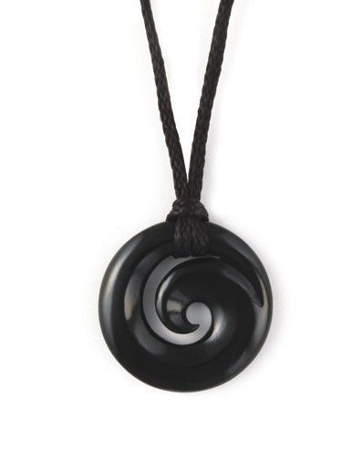 Black Jade Koru ~ Koru is a Māori word for 'loop'.  A spiral based on the shape of an unfurling silver fern frond, symbolizing new life, growth, strength and peace. An integral symbol in Māori art, carving and tattoos