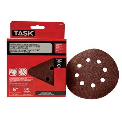 Task Tools T13057 Hook and Loop 8 Hole 60 Grit Disc (25 Pack)