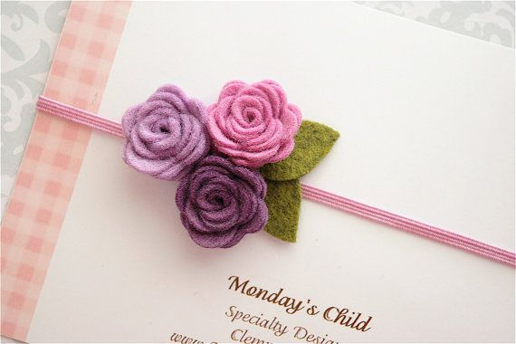 Felt Flower Headband in Lilac and Lavender - Baby Headbands to Adult via Etsy