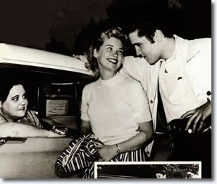 Elvis Presley with Yvonne Lime April 19, 1957 and with Elvis' Mother, Gladys in the car,