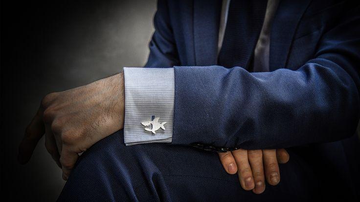Sharks cufflinks // Handmade // Sterling Silver