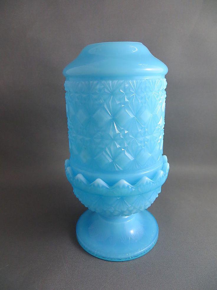 """Vintage Fenton Blue Milk Glass Fairy Lamp Votive Tea Light Diamond Block 6"""" Tall #Fenton"""