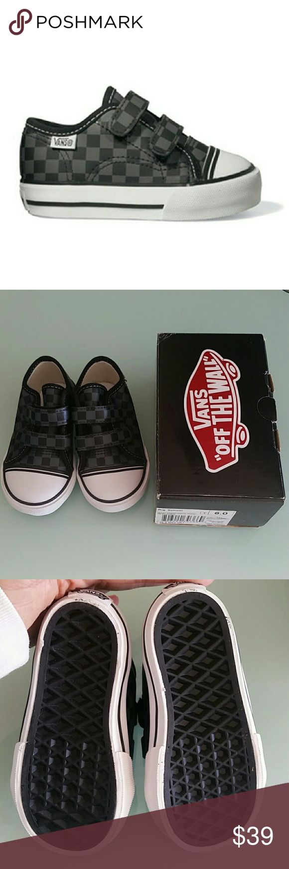NIB Vans Big School Checkerboard pewter shoes 6 New in box, Vans Big Schoil Small Checkerboard pewter velcro shoes sneakers. Clean soles, never worn. Baby Toddler US size 6 (UK 5.5) Will consider reasonable offers via the offer tab, thank you! Vans Shoes Sneakers