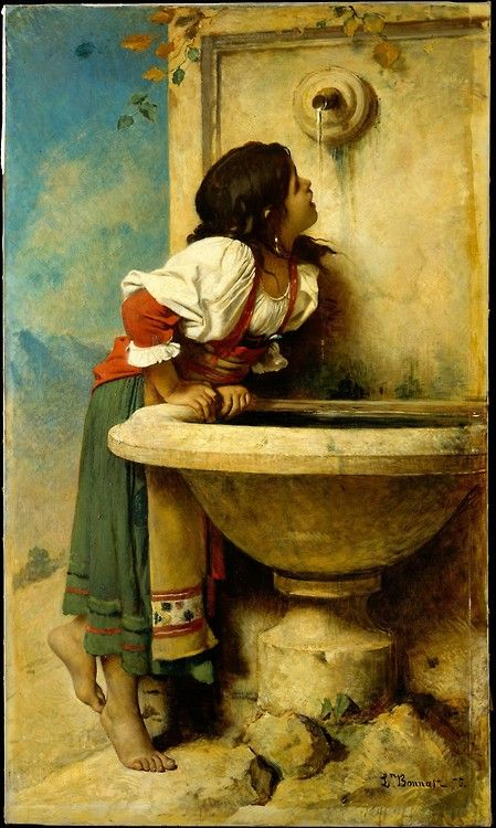Léon Bonnat, Roman Girl at a Fountain, 1875, Metropolitan Museum of Art: one of the last genre scenes that Bonnat produced before he turned exclusively to portraiture. He probably agreed to paint the work for Catharine Lorillard Wolfe about 1873. Two years later the painting was delivered to Wolfe's Madison Avenue brownstone.