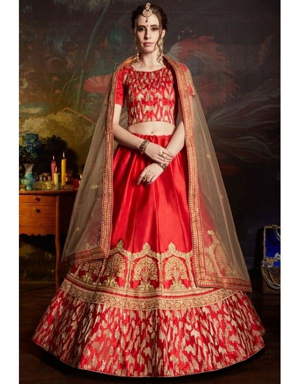 d683d214af Red Embroidered Satin Lehenga Choli with Net Dupatta in 2019 ...