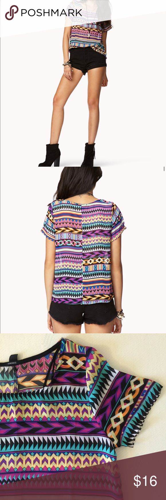 """✨ HP ✨ Aztec Print Top Pre-loved in excellent condition. Print top that's easy to throw on with anything. Size medium (could fit small). 100% polyester. Ever so slightly sheer. """"Best in Tops"""" Host Pick on 4/4/17 ✨ Forever 21 Tops Tees - Short Sleeve"""