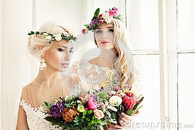 Perfect Bride Woman With Colorful Flower Wreath - Download From Over 60 Million High Quality Stock Photos, Images, Vectors. Sign up for FREE today. Image: 91385254