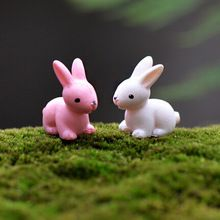 Kunstmatige mini konijn konijn haas 2 kleuren fairy tuin miniaturen gnome moss terraria desktop hars ambachten decoratie home(China (Mainland))