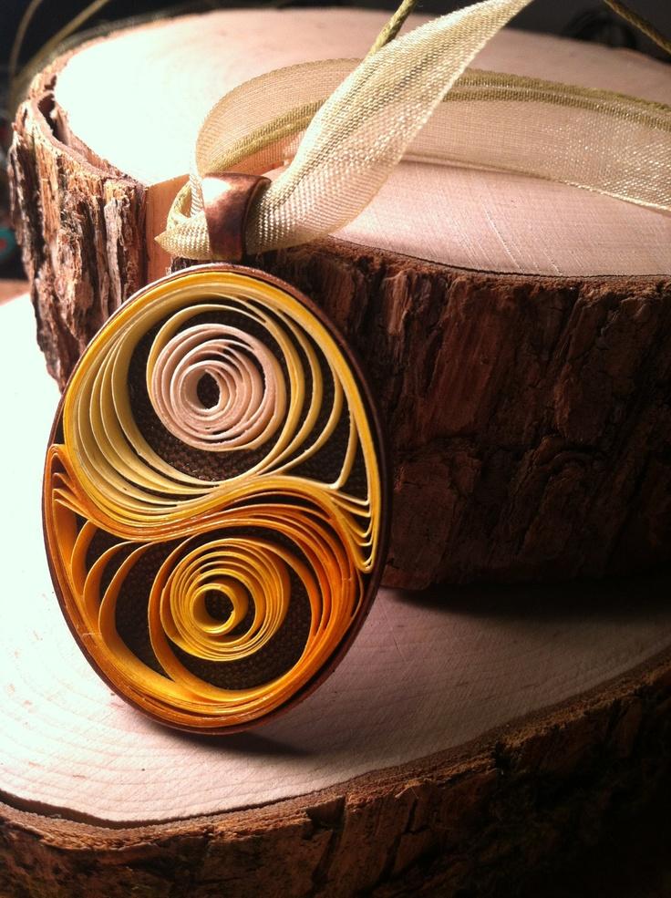 Golden Balance Quilled Pendant.