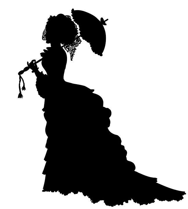 Hölgy, Viktoriánus, Krinolin, Napernyő, Ruha, Divat, Nő