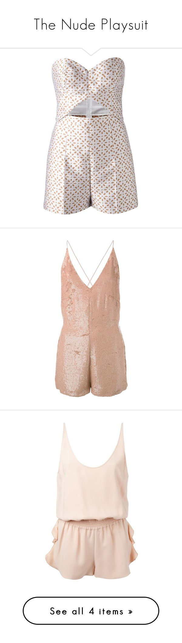 """""""The Nude Playsuit"""" by farfetch ❤ liked on Polyvore featuring jumpsuits, rompers, playsuits, dresses, romper, white, playsuit jumpsuit, michael kors, jump suit and playsuit romper"""