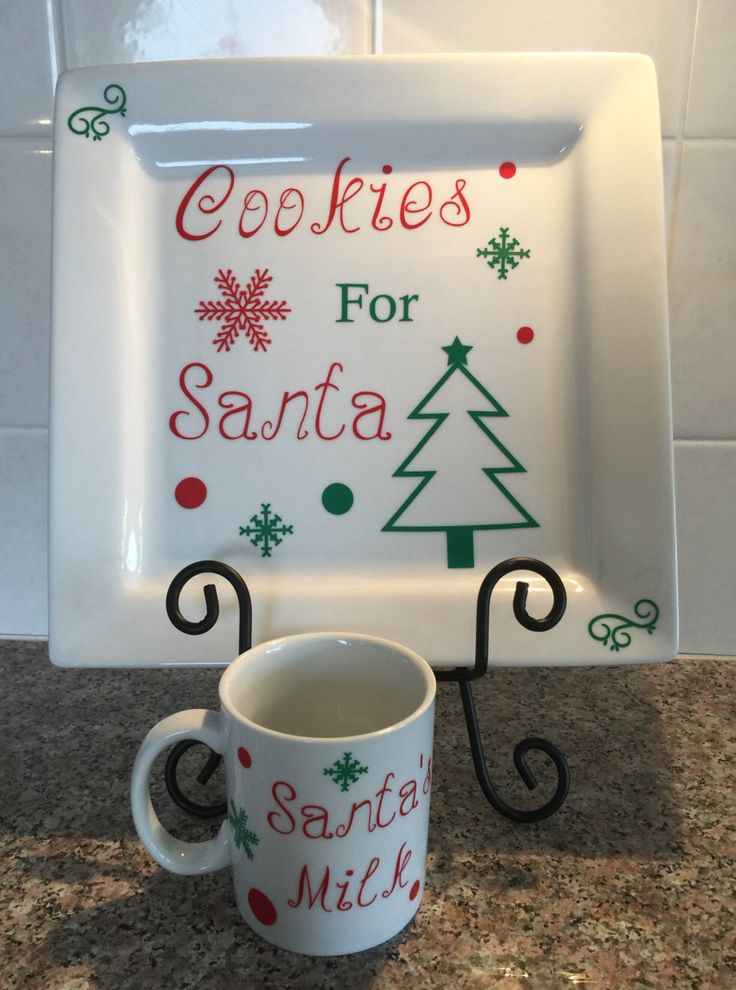 A personal favorite from my Etsy shop https://www.etsy.com/listing/256450519/personalized-plate-santas-cookie-plate