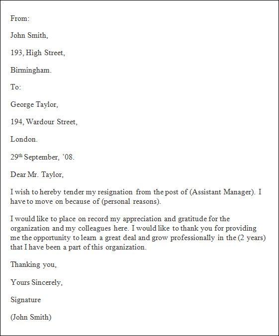 Best 25 Formal resignation letter sample ideas – Sample Letter of Resignation from an Organization