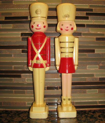 """WANT.  Vintage Pair Boy Girl Soldier Christmas Lights 16 5"""" Tall Blow Mold Hard Plastic 