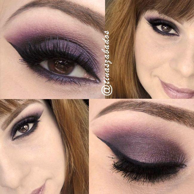 Maquiagem Cat Eyes com sombra vinho e rosa