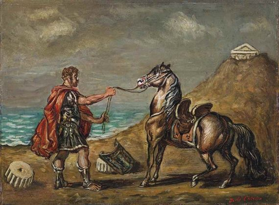 Artwork by Giorgio de Chirico, Cavaliere romano che tiene un cavallo alla briglia, Made of oil on canvasboard