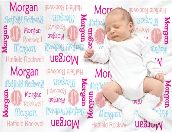 Baby Shower gift. Personalized baby blanket by DJammarMaternity