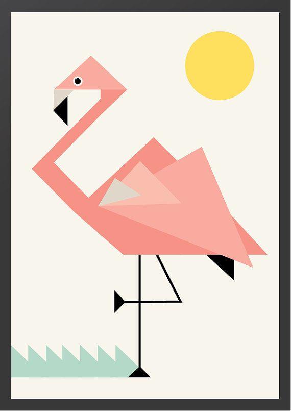 Geometric Flamingo Nursery Wall Print by MagentaDesigns