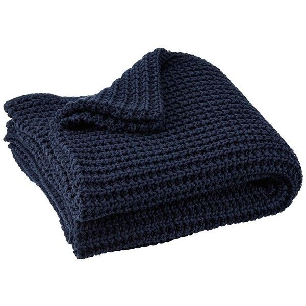 Indigo Navy Chunky Knit Throw ($26) ❤ liked on Polyvore featuring home, bed & bath, bedding, blankets, textured bedding, navy throw, chunky knit throw blanket, dark blue throw blanket and navy throw blanket