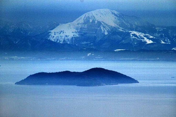Okishima Island on Lake Biwa & Mt. Ibuki-yama, view from Enryakuji Station on the Hieizan Railway Line