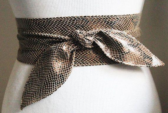 Snakeskin Leather Obi Tulip Tie Belt   Waist Sash Belt   Leather tie belt   Corset Leather Belt  Plus Size Belt