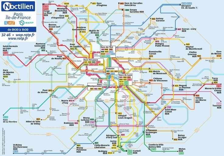 Map of Paris Noctilien NIGHT bus network http://parismap360.com/paris-bus-map#.WIrrz90izv8