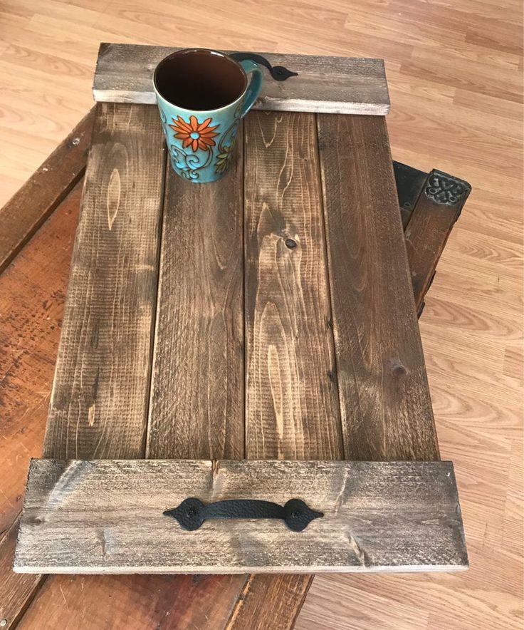 Rectangular Wooden serving tray, Wooden rustic repurposed ...
