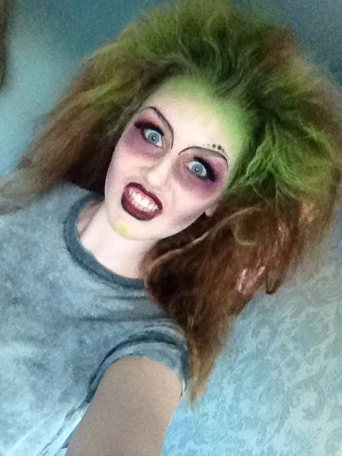 Female Beetlejuice Makeup And Hair  #halloween#makeup#hair#green#purple#lush#crazy