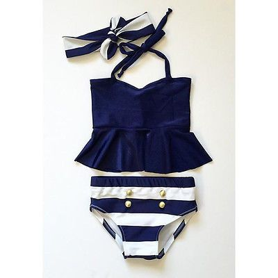 Kids Girls Bikini Suit Ruffles Navy Tops Striped Tankini Swimsuit Swimwear Swim