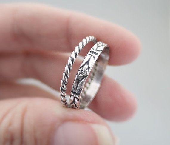 Sterling Silver Rings Twist Ring Flower Pattern Ring by bluebirdss