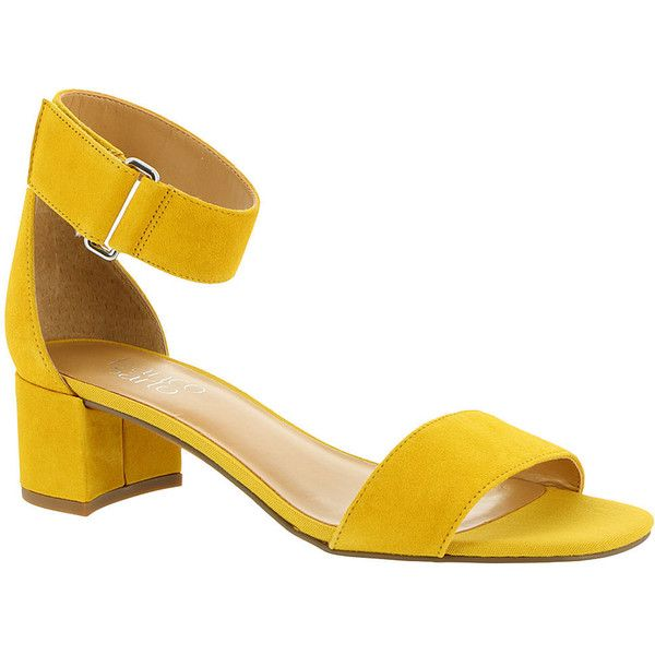 Franco Sarto Rosalina Women's Yellow Sandal ($89) ❤ liked on Polyvore featuring shoes, sandals, yellow, mid-heel sandals, mid heel dress sandals, block heel shoes, block heel ankle strap sandals and peep toe sandals