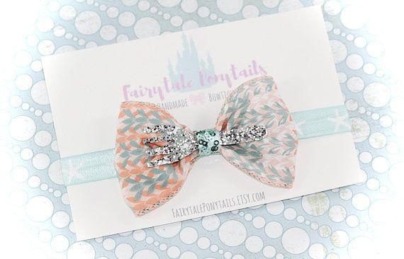 Fork Little Mermaid Bow Headband Glitter Adjustable