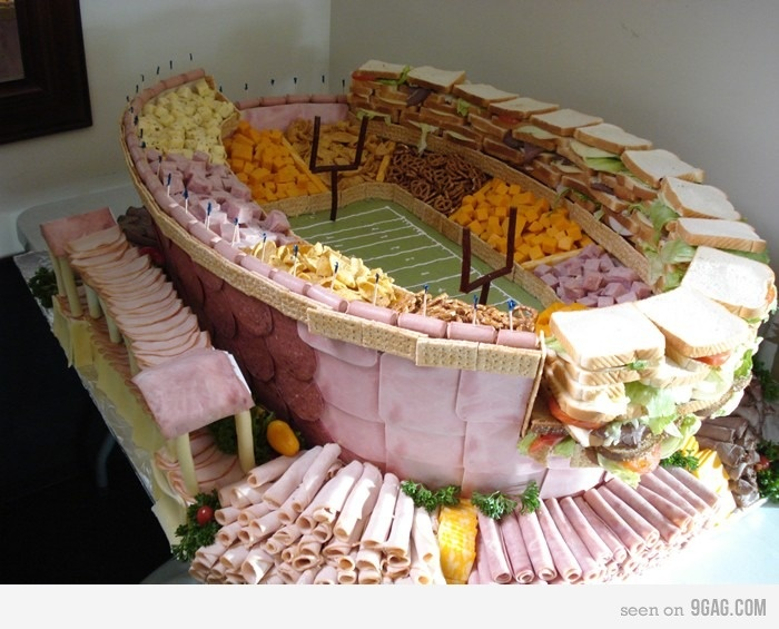 That thing needs a blueprint!: Ideas, Football Food, Sandwiches, Superbowl, Football Stadiums, Football Parties, Snacks, Super Bowls Food, Parties Trays