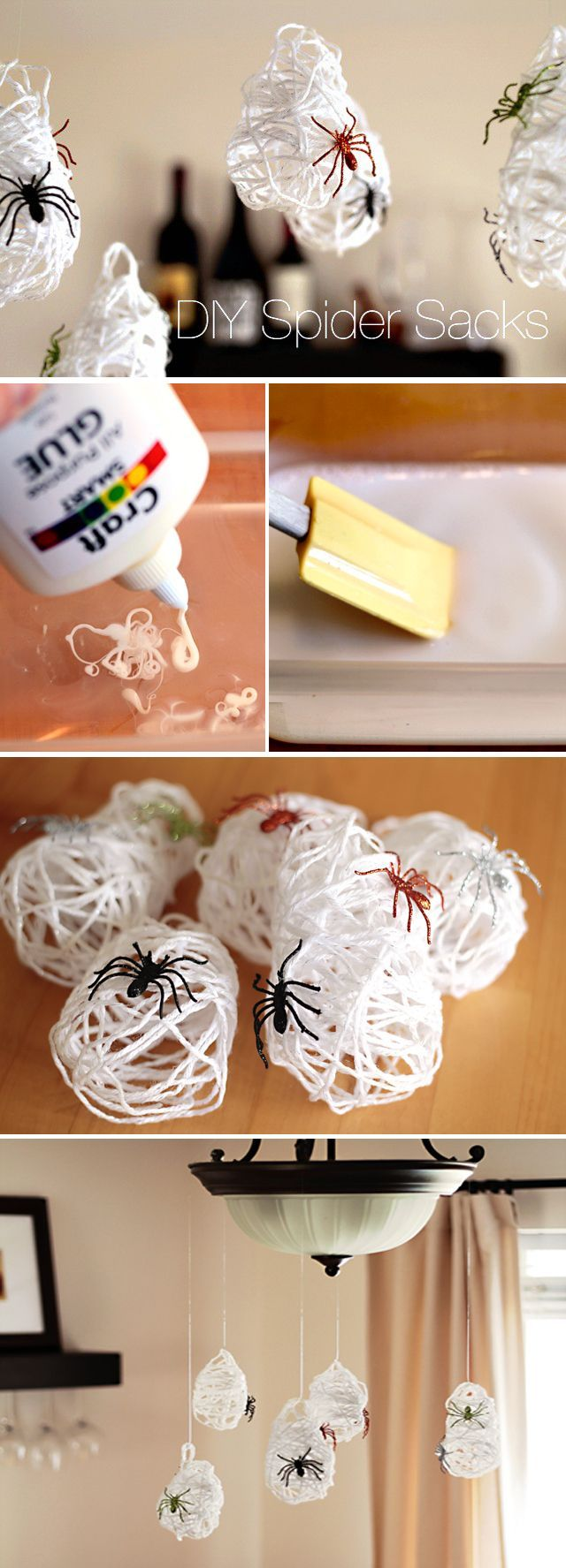 DIY Halloween Spider Sack Decor - the perfect Halloween craft to make with kids. Lots of hands on fun and the result is so impressive!