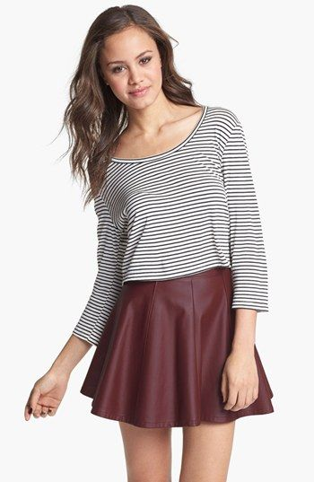 Lily White Faux Leather Skater Skirt (Juniors) available at #Nordstrom