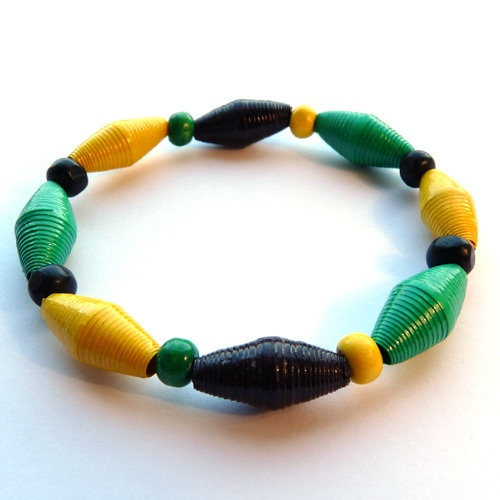 Paper Bead Bracelet Green, Black and Yellow £5.00